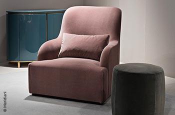 Designer-Sessel von Meridiani, alt-rosa