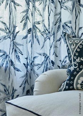 Vorhänge Stuttgart: Stoff von Designer´s Guild mit dekorativem Blätterprint